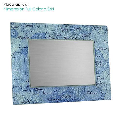 Placa de Cristal Mapa Azul