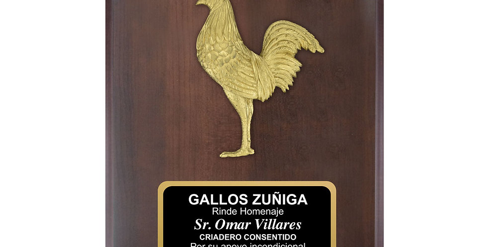 Placa con aplique de gallo