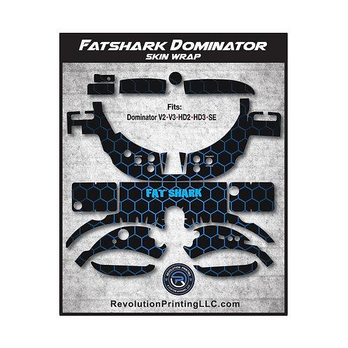 FPV Goggles Skin Wrap - FATSHARK DOMINATOR (Blue HoneyComb)