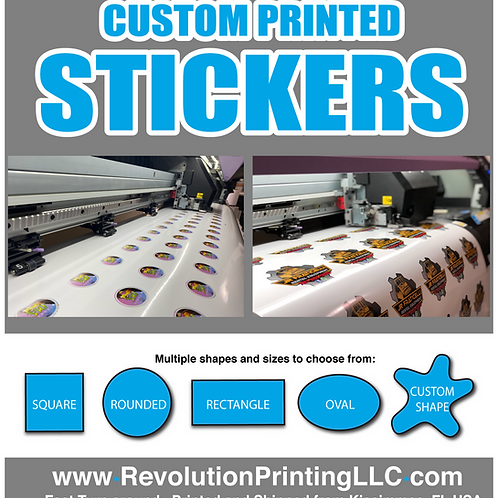 100 qty Custom Printed and Laminated  Die Cut Full Color Stickers - Many Shapes