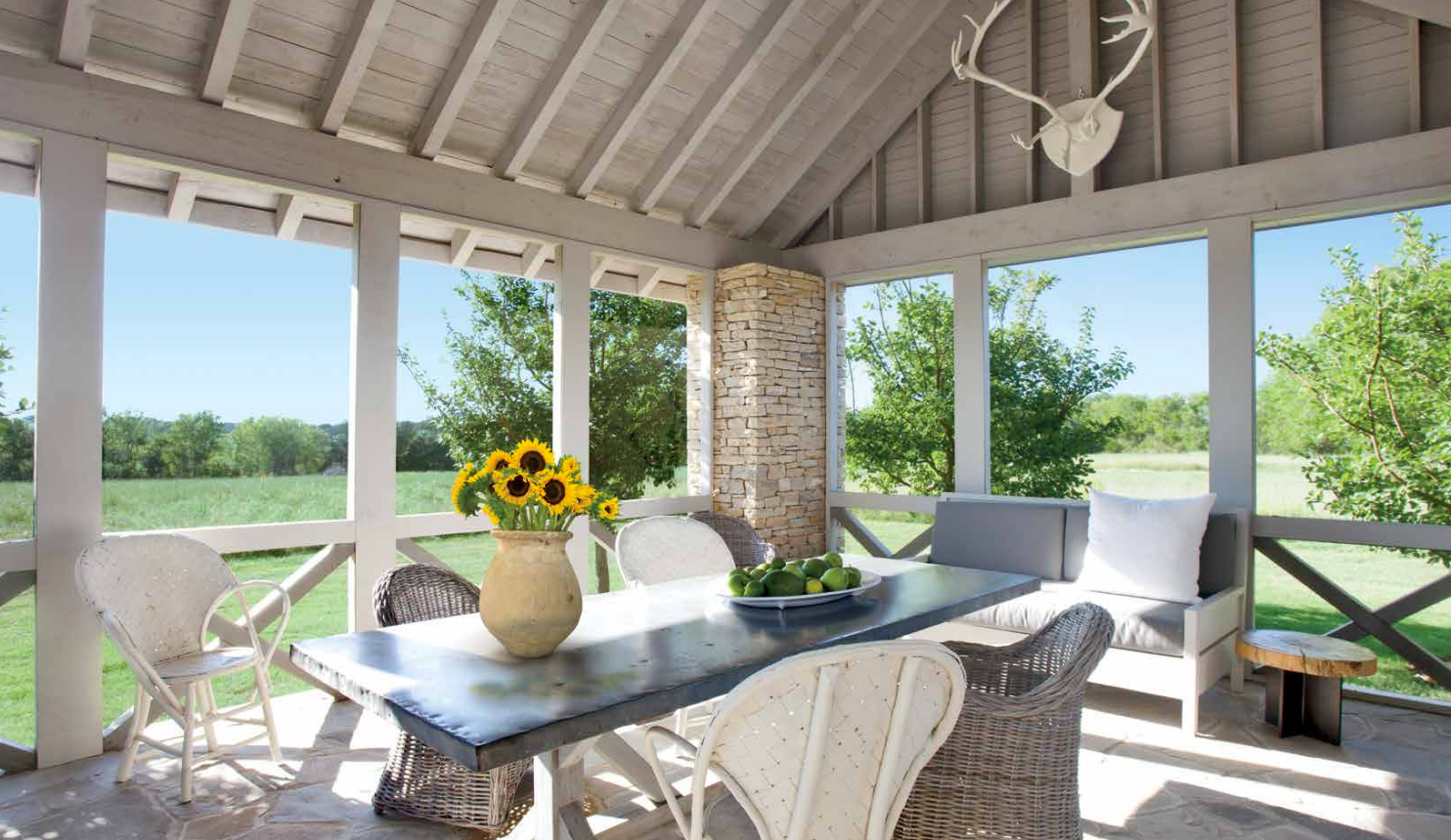 Screenporch in modern farmhouse in Texas by Eleanor Cummings