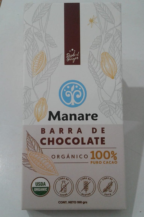 Barra de chocolate 100% cacao Manare 100 g