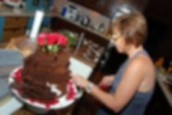Lynne preparing wedding cake at Lastingham.