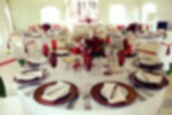 Wedding reception tables set by Lynne at Lastingham.