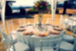 Outdoor wedding reception table set at Lastingham.