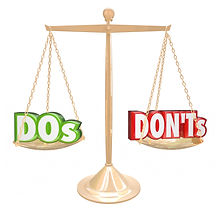image of the scales of justice with one side saying do's and the other saying don'ts