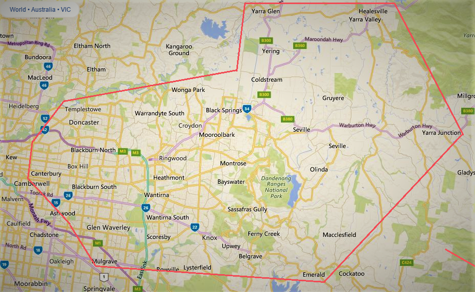 Eastern Bin Hires melbournes eastern & outer eastern suburbs, yarra valley, & yarra ranges service area map image