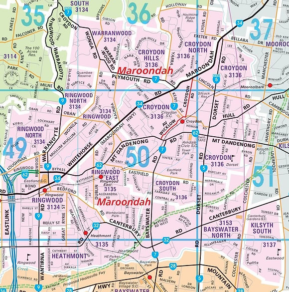 Image of Eastern Bin Hire's service area map of the City of Maroondah, in melbourne's outer eastern suburbs