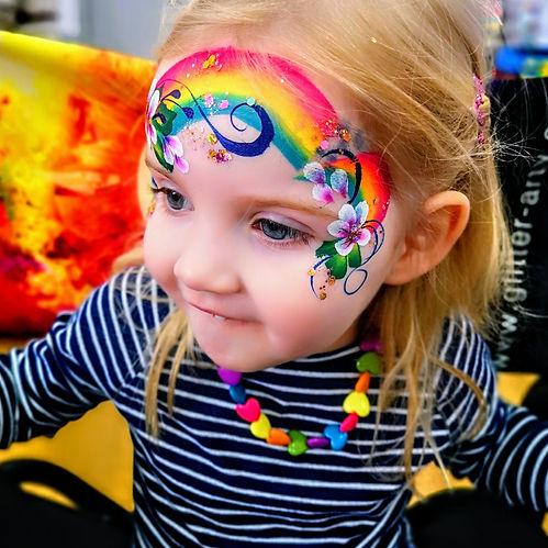 rainbow flower face painter launch event