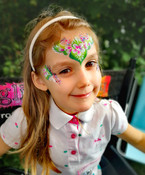 pretty rainbow glitter flowery face paint