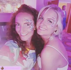 bride & guest with eye designs