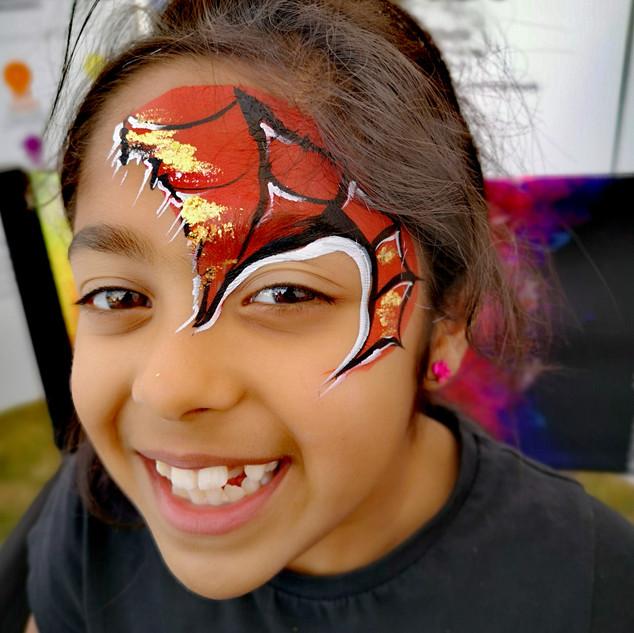 Girls spiderman face paint