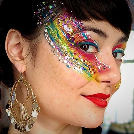 Rainbow Coachella & Bowie inspired face art