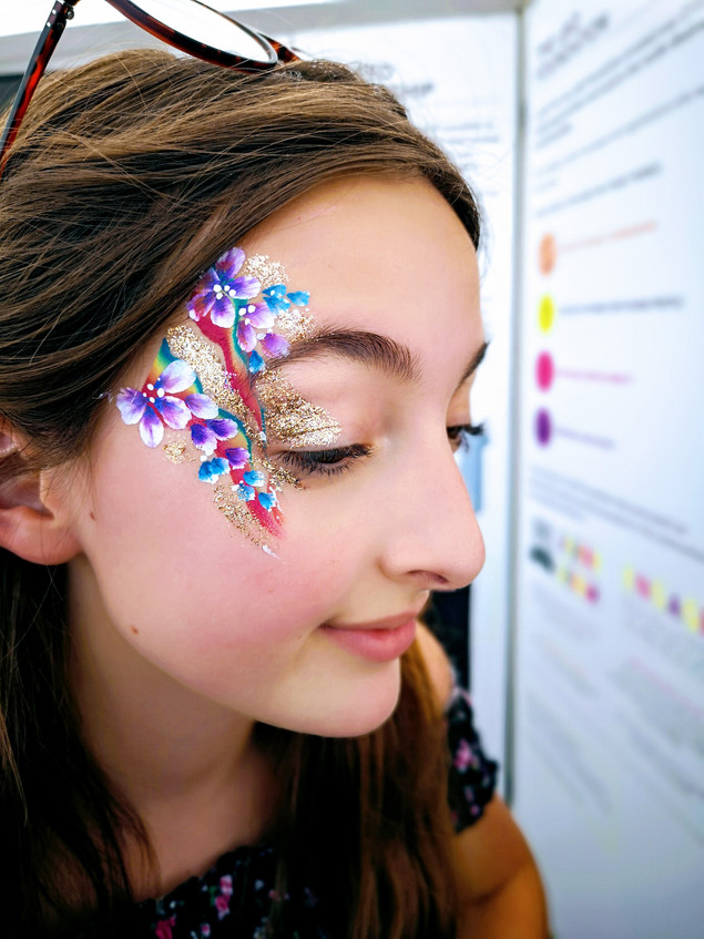 Rainbow eye design with flowers, gold glitter and swirls
