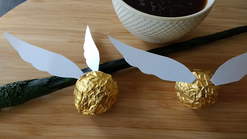 Homemade golden snitches made from Ferrero Rocher