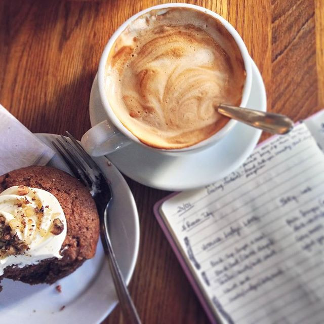 Coffee, Writing in Notebook, Carrot Cake muffin Flatlay.