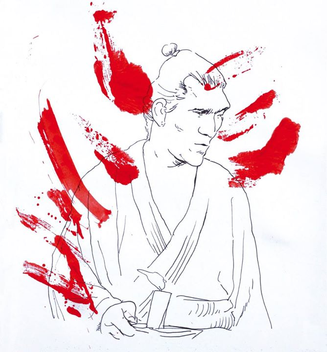 Yojimbo (para a Mostra Jidaigeki do Sesc)__esferográfica e acrílica sobre papel_2015
