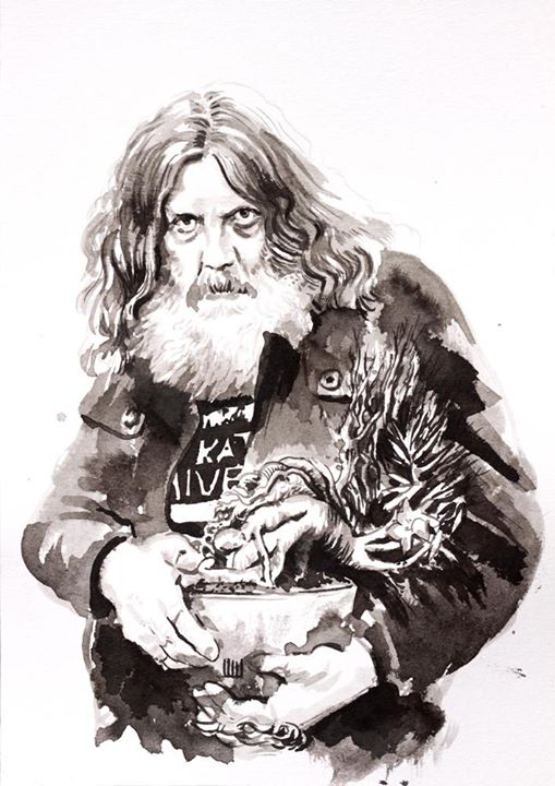 Alan Moore - Monstro do Pântano (para a exposição Voz do Fogo)__21 x 29,7cm_nanquim sobre papel_2014