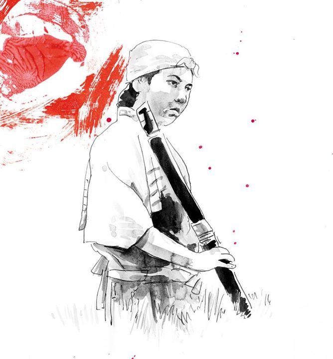 Os Sete Samurais (para a Mostra Jidaigeki do Sesc)__Esferográfica, nanquim e intervenção digital de