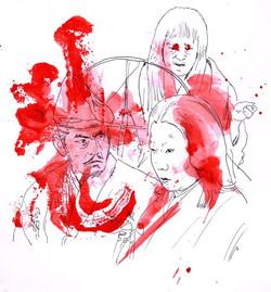 Trono Manchado de Sangue (para a Mostra Jidaigeki do Sesc)__esferográfica, nanquim e acrílica sobre