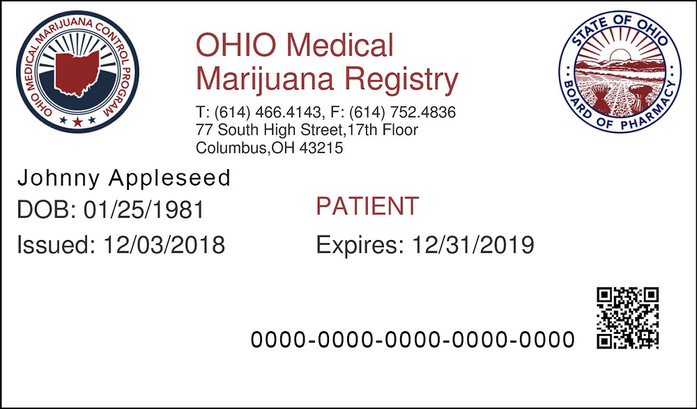 Ohio Medical Marijuana Patient Registry Card Example