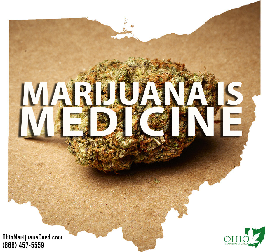 Outline of the State of Ohio with Marijuana Picture Inside and Text Saying Marijuana is Medicine
