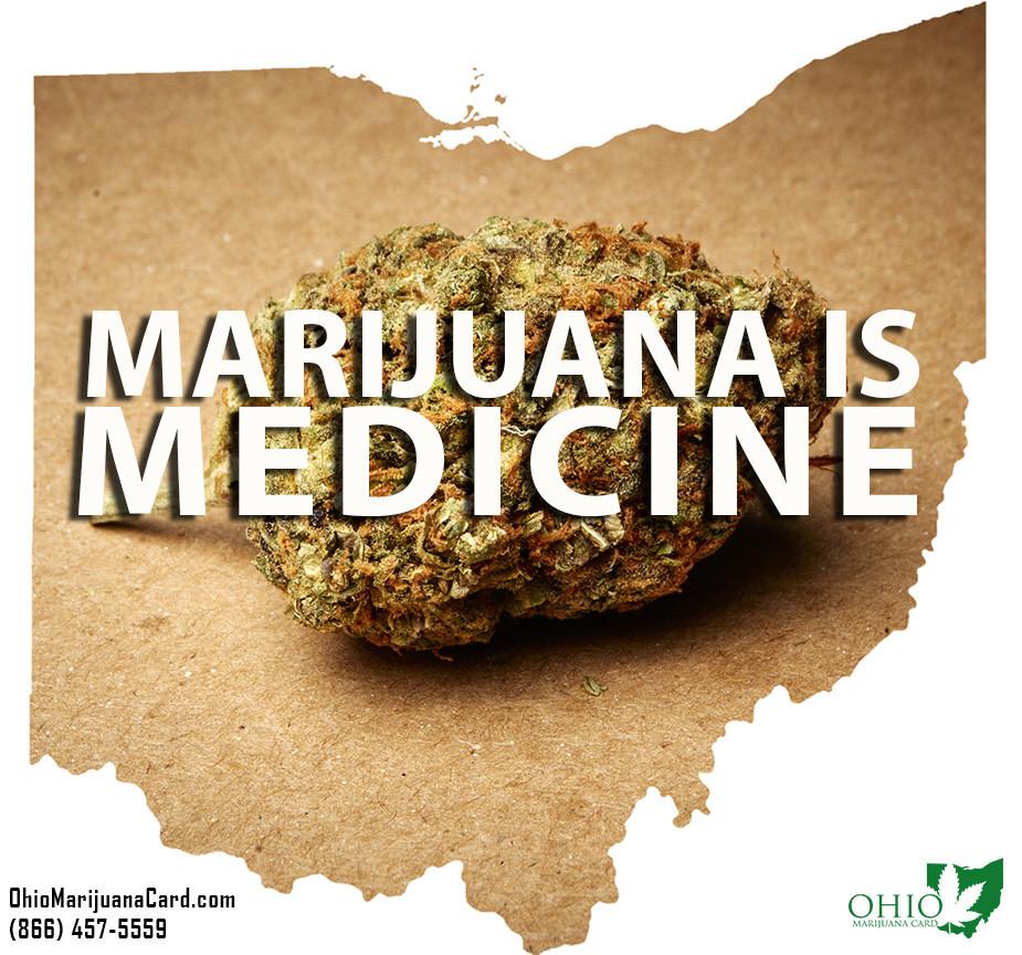 Outline of Shape of Ohio with Marijuana Nug Inside the Border with the Text Marijuana is Medicine