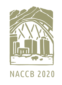 Illustrated logo for NACCB 2020, in sandy beige and white: large mountains in the background, with a cityscape in the midview, and a large bison and a baby bison in the foreground, emphasizing the juxtaposition of people and nature at the conference location in Denver, CO.