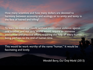 """A glorious sunset over Crater Lake National Park, in Oregon. Pink, orange, and red clouds contrast against the silhouettes of a pine tree in the foreground and the crater rim in the background, with the darkened lake below. The image is a backdrop for a quote from Wendell Berry's 'Our Only World':How many scientists and how many dollars are devoted to harmony between economy and ecology, or to amity and lenity in the face of hatred and killing?   To learn to meet our needs without continuous violence against one another and our only world would require an immense intellectual and practical effort, requiring the help of every human being, perhaps to the end of human time.   This would be work worthy of the name """"human."""" It would be fascinating and lovely."""""""