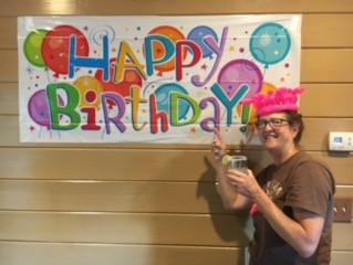 Sharon's summer birthday at reunion.