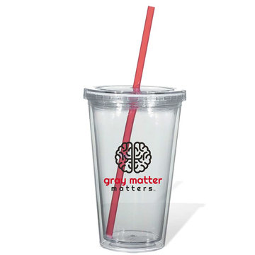 Clear cup with a straw