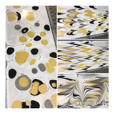 Foulard soie jaune et gris