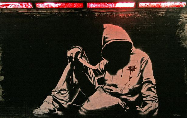 Banksy's comment on gangs and knife attacks which were said to be at 'epidemic' levels in 2008 - sadly ten years on not much has changed (Image: ©Michael Greenwood)
