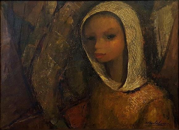 Mujer con pañuelo, Mirta Cerra.