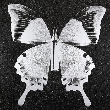 Silver Butterfly on Black