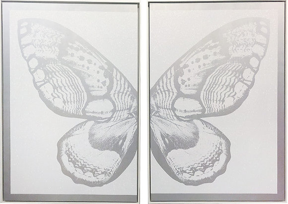 Silver Diptych Butterfly on White