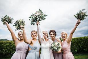 Bridesmaids bouquets and bridal bouquet