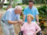 Senior husband visiting his disabled wif