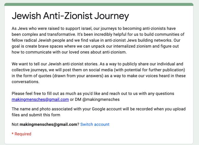 Jewish Anti-zionist Journey