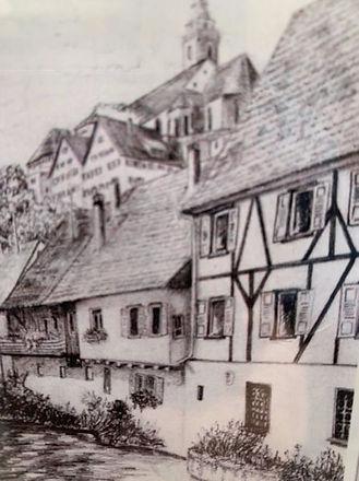 Historische Ansicht Tuchweberey Mühlkana