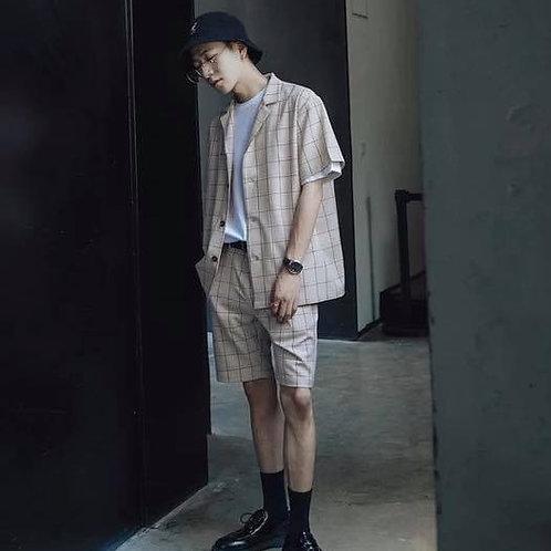 เซตสูทเสื้อคลุมแขนสั้น กับกางเกงขาสั้นแบบเอวยางยืดผ้าลายสกอต