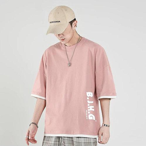 เสื้อยืดโอเวอร์ไซร์เกาแบบโคเรียสีพาสเทลเบาๆ สกีนน่ารักๆ