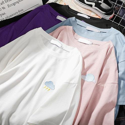 New in เสื้อยืดก้อนเมฆผ้าสเปนเดก งานปักหน้าอก นุ่มๆเด้งๆใส่สบายม๊วก