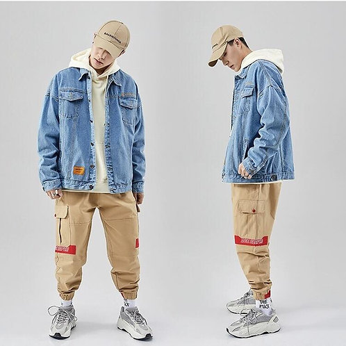 2020 Denim Jackets oversized เสื้อแจ๊คเกต โอเวอร์โซร์สียีนดำ/ยีนเข้มงานปักหน้าอก