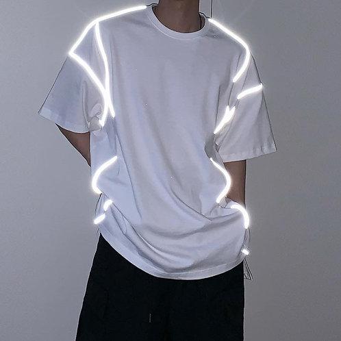 New iTem เสื้อยืดโอเวอร์ไซร์ผ้าคอตตอน ตัวลายเส้นของเสื้อเรืองแสงได้ งาน EDM