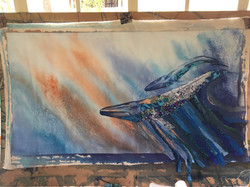 Blue Whale application of fabric