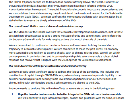 Statement of Action by the Global Investors for Sustainable Development (GISD) Alliance
