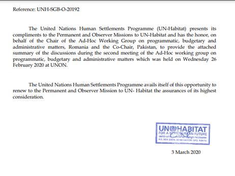 UNHABITAT (UN General Assembly's Program) - Budget in 2021