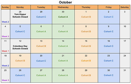 October Cohort Calendar