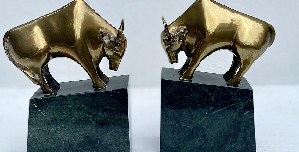 Pair of Mid Century Modernist Bulls